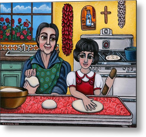 Hispanic Artists Metal Print featuring the painting Grandma Kate by Victoria De Almeida