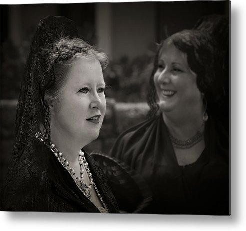 Black And White Metal Print featuring the photograph Happy Widows by Mario Celzner