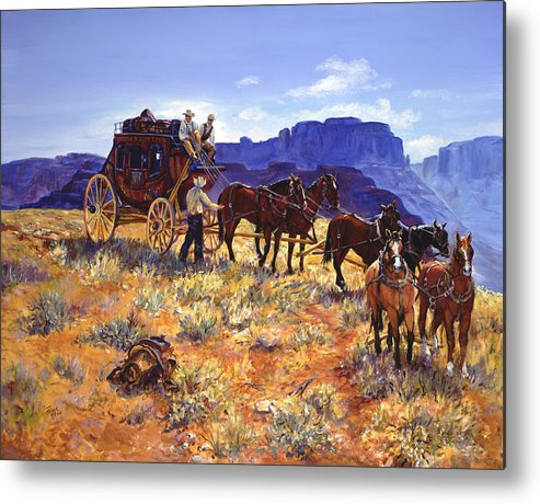 Stagecoach Metal Print featuring the painting Hitchin by Page Holland