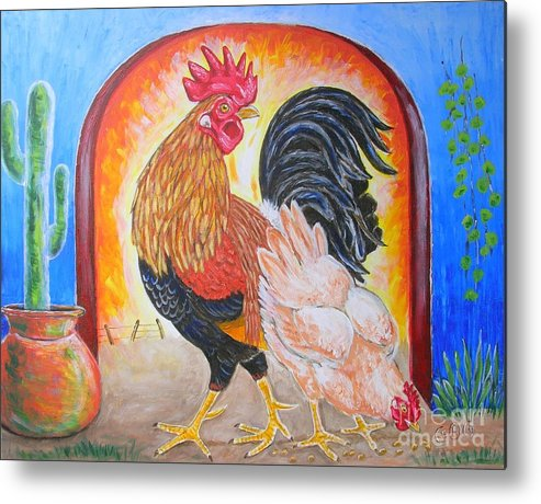 Roosters Metal Print featuring the painting Hola Senorita by George I Perez