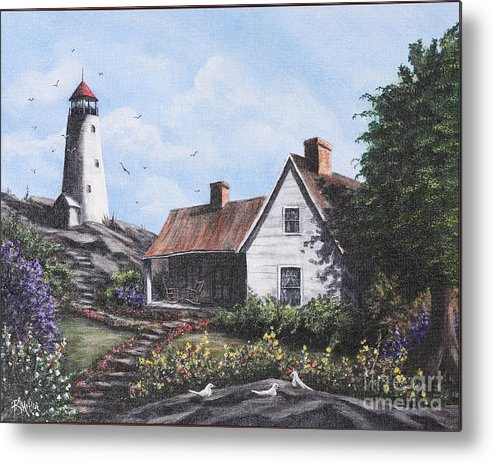 Blue Metal Print featuring the painting Home By Lighthouse by Rita Miller