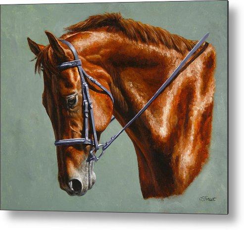 Horse Metal Print featuring the painting Horse Painting - Focus by Crista Forest