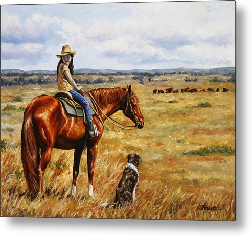 Western Metal Print featuring the painting Horse Painting - Waiting For Dad by Crista Forest