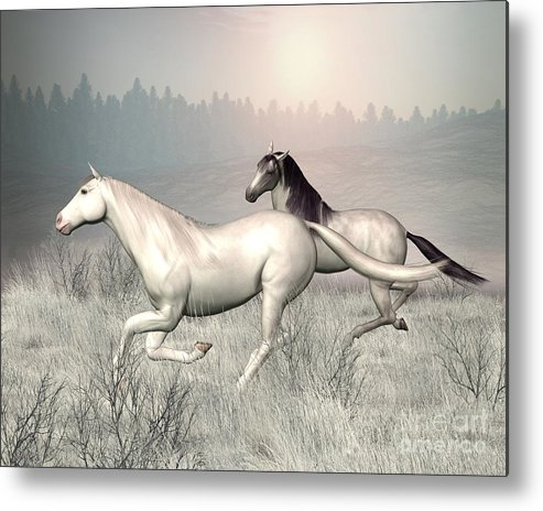 Horse Metal Print featuring the digital art Horses In The Snow by Fairy Fantasies