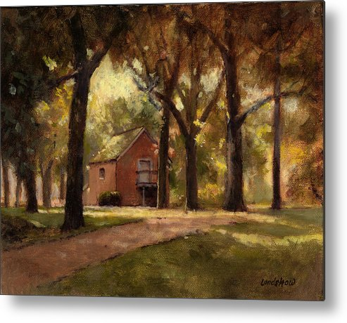 Landscape Metal Print featuring the painting House And Trees by Roger Lundskow