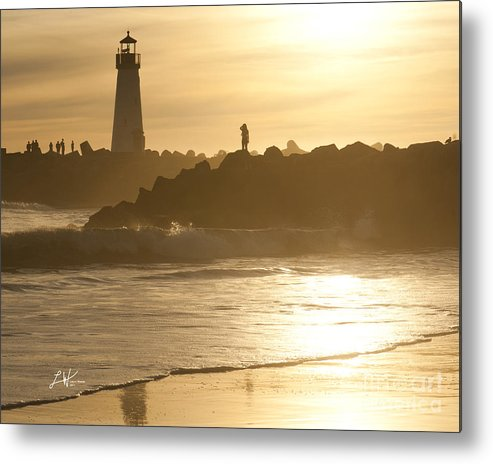 The Santa Cruz Harbor Lighthouse Metal Print featuring the photograph I Will Wait For You Forever by Artist and Photographer Laura Wrede