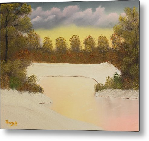Snow Metal Print featuring the painting Icy Pond by Henry Parker
