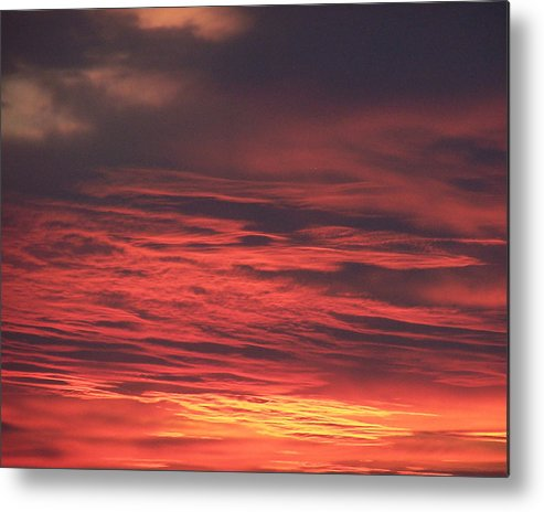 Icy Red Sky Metal Print featuring the photograph Icy Red Sky by Jennifer Allen