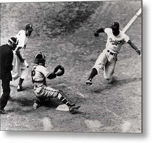 Jackie Metal Print featuring the photograph Jackie Robinson In Action by Gianfranco Weiss