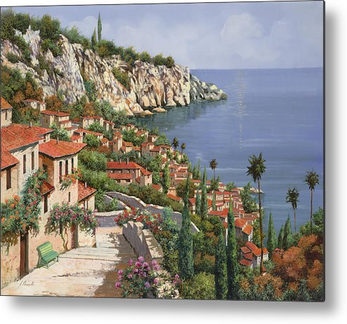 Seascape Metal Print featuring the painting La Costa by Guido Borelli