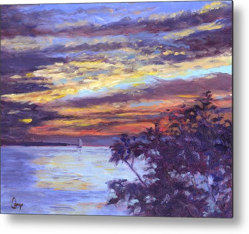 Sunset Metal Print featuring the painting Lake Erie Sunset by Michael Camp
