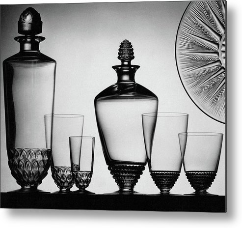 Home Accessories Metal Print featuring the photograph Lalique Glassware by The 3