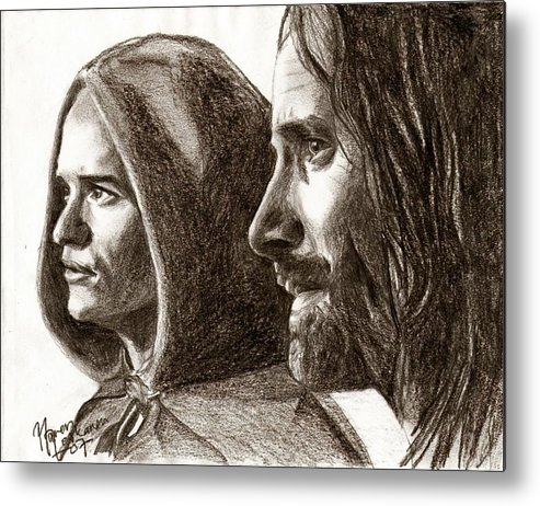 The Lord Of The Rings Metal Print featuring the drawing Legolas And Aragorn by Maren Jeskanen