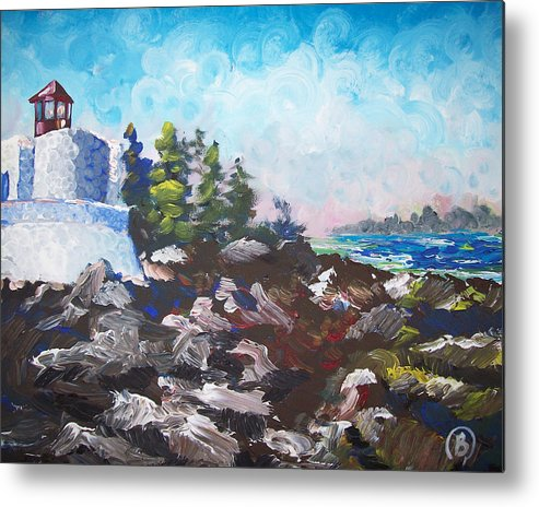 Lighthouse Metal Print featuring the painting Lighthouse by Benaca