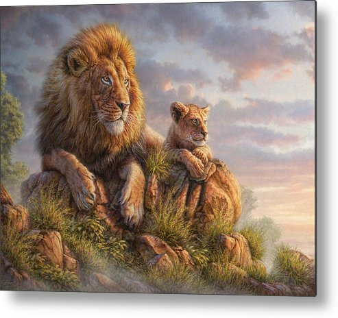 Lion Metal Print featuring the mixed media Lion Pride by Phil Jaeger