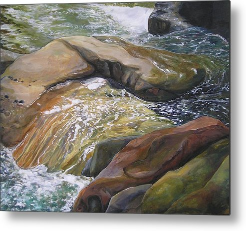 Water Metal Print featuring the painting Living Water by Denise Ivey Telep