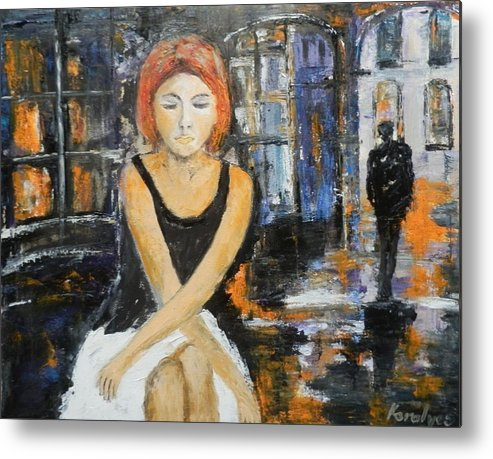 Citiscape Metal Print featuring the painting Lonely Woman Lonely Man by Maria Karalyos