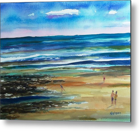 Low Tide Metal Print featuring the painting Low Tide Wells Beach Maine by Scott Nelson