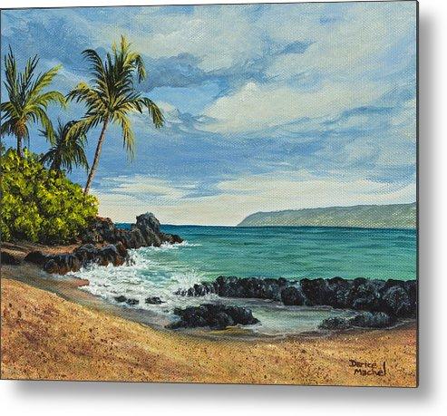 Seascape Metal Print featuring the painting Makena Beach by Darice Machel McGuire