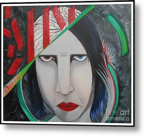 Marilyn Manson Metal Print featuring the painting Marilyn by Aimee Vance