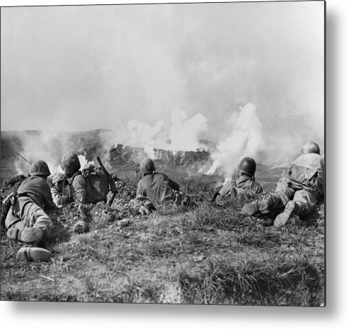 History Metal Print featuring the photograph Marines Fought Retreating Japanese Hill by Everett