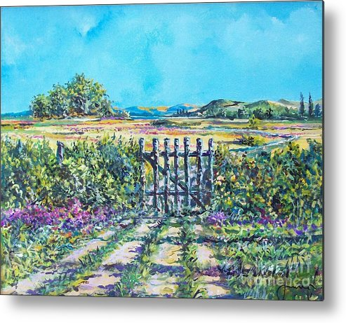 Nature Metal Print featuring the painting Mary's Field by Sinisa Saratlic