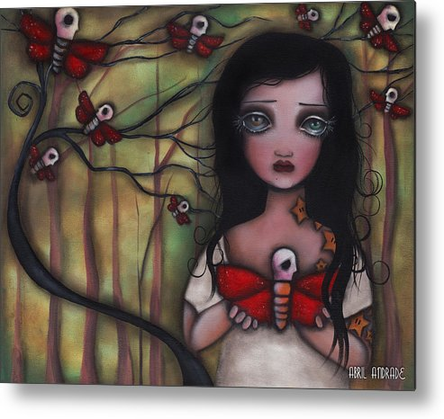 Moths Metal Print featuring the painting Matilda by Abril Andrade Griffith