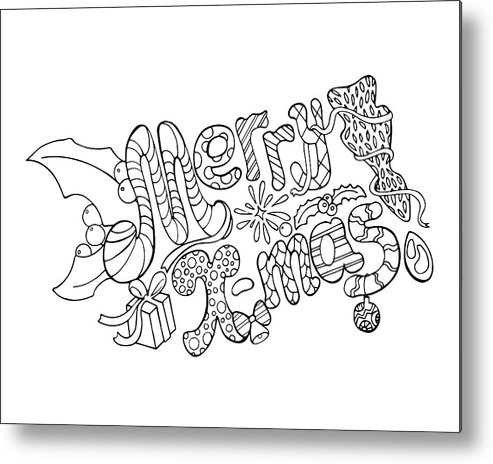 Merry Christmas Vector Illustration - Hand-drawn Lettering. Merry Christmas  Coloring Page Metal Print