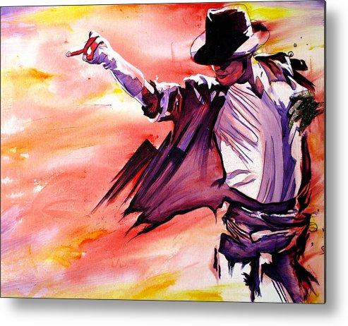 Michael Jackson Metal Print featuring the painting Michael Jackson-billie Jean by Joshua Morton