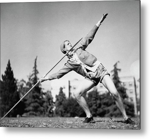 Personality Metal Print featuring the photograph Mildred Babe Didrikson Holding A Javelin by Acme