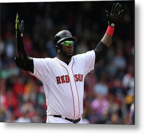 People Metal Print featuring the photograph Minnesota Twins V Boston Red Sox - Game by Jim Rogash