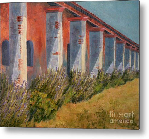 California Missions Metal Print featuring the painting Mission Lavender by Terry Taylor