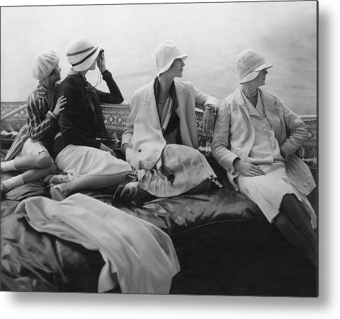 Accessories Metal Print featuring the photograph Models On A Yacht by Edward Steichen