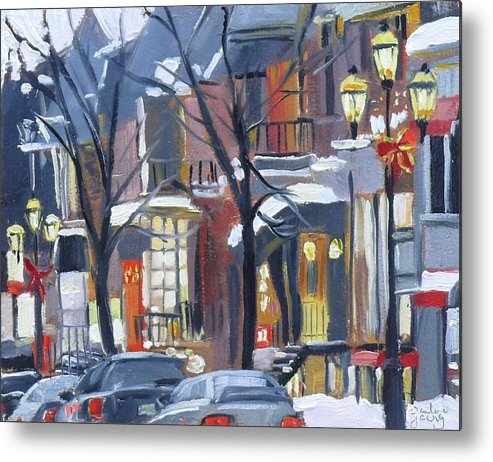 Montreal Metal Print featuring the painting Montreal Hiver Crescent by Darlene Young