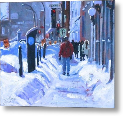 Cityscape Metal Print featuring the painting Montreal Winter Downtown by Darlene Young