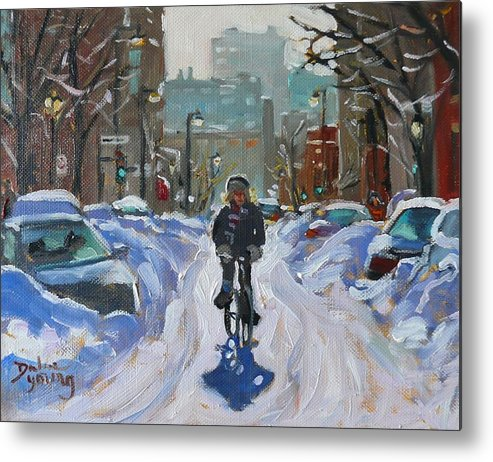 Cityscape Metal Print featuring the painting Montreal Winter Fastest Transportation by Darlene Young