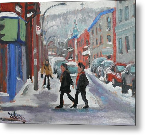 Cityscape Metal Print featuring the painting Montreal Winter Scene Mont Royal by Darlene Young