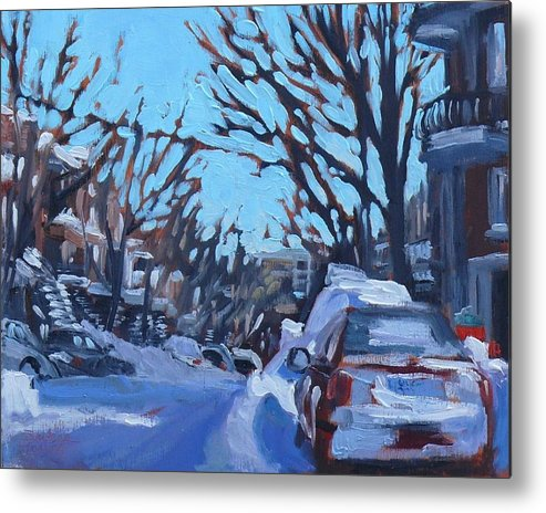 Cityscape Metal Print featuring the painting Montreal Winter Scene Morning by Darlene Young