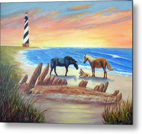 Cape Hatteras Metal Print featuring the painting New Day - Hatteras by Fran Brooks
