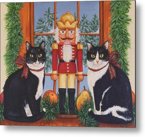 Cats Metal Print featuring the painting Nutcracker Sweeties by Beth Clark-McDonal