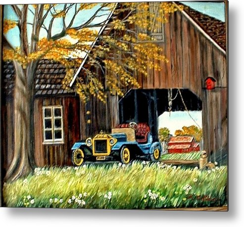 Old Barn Car Metal Print featuring the painting Old Barn And Old Car by Kenneth LePoidevin