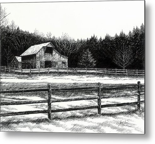 Old Barn Metal Print featuring the drawing Old Barn In Franklin Tennessee by Janet King