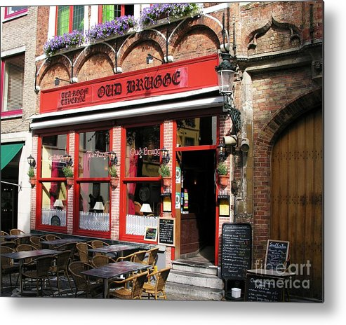 Cityscapes Metal Print featuring the photograph Old Brugge Tavern by Mel Steinhauer