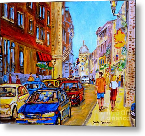 Old Montreal Street Scenes Metal Print featuring the painting Old Montreal by Carole Spandau