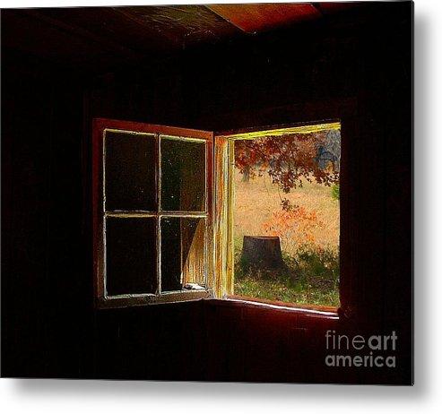 Log Cabin Art Metal Print featuring the photograph Open Cabin Window II by Julie Dant