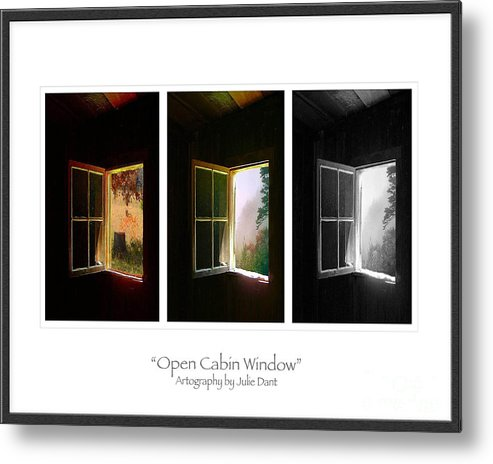 Log Cabin Art Metal Print featuring the photograph Open Cabin Window Trio by Julie Dant