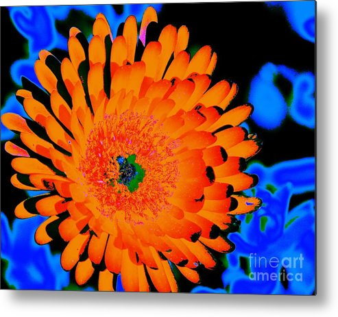 Orange Metal Print featuring the digital art Orange Burst by John Le Brasseur