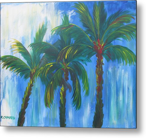 Acrylic Painting Metal Print featuring the painting Palm Trio by Kathie Camara