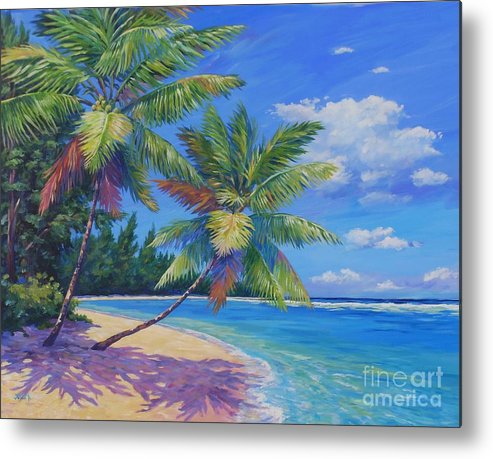 Art Metal Print featuring the painting Palms At Winter Haven by John Clark
