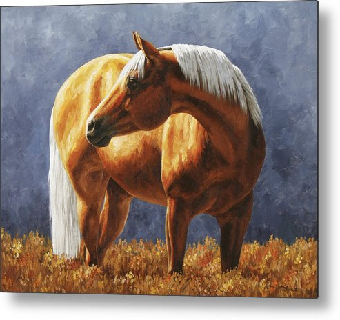 Horse Metal Print featuring the painting Palomino Horse - Gold Horse Meadow by Crista Forest